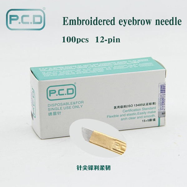 best selling 100 pcs PCD 12 Pin Permanent Makeup Eyebrow Tatoo Blade Microblading Needles For 3D Embroidery Manual Tattoo Pen