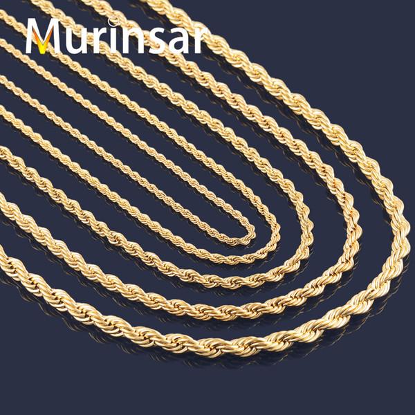 Wholesale-18K Gold Filled Cadena de cuerda de collar de acero inoxidable para hombres y mujeres Collar de cadena de oro de acero inoxidable de alta calidad