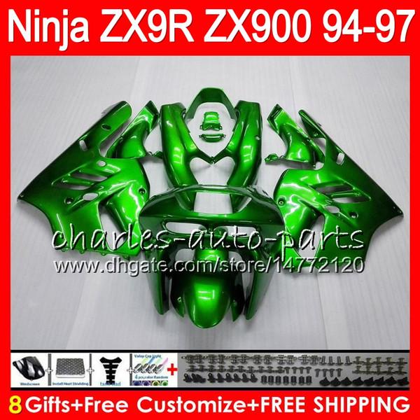 8Regalos 23Colores para KAWASAKI NINJA ZX900 ZX9R 94 95 96 97 900CC 49HM16 verde brillante ZX-9R ZX900C ZX 9 R ZX 9R 1994 1995 1996 1997 Kit de carenado