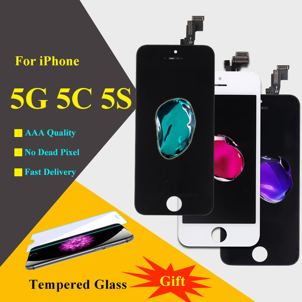 for iPhone 5 5G 5C 5S LCD Display 1 pcs Top quality AAA No spot With Touch Screen Panel Digitizer Assembly with Free screen protector