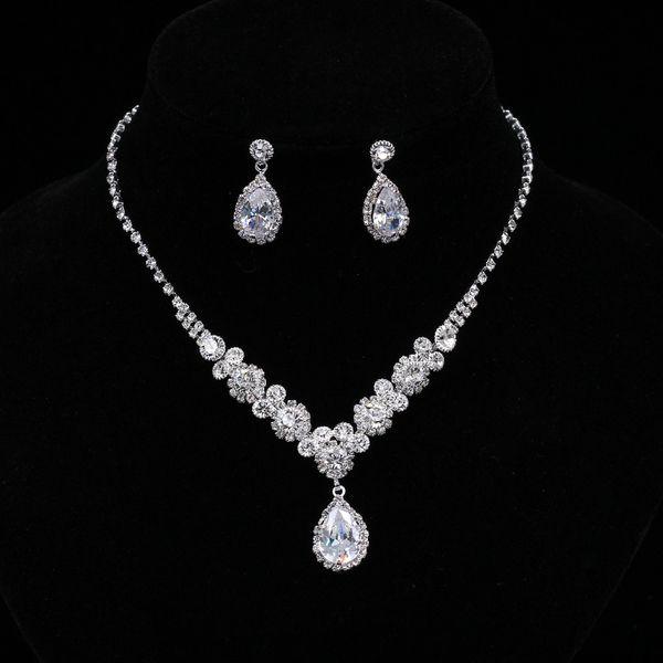 Einfache kristall brautschmuck sets silber farbe strass wassertropfen ohrringe halskette sets für frauen hochzeit schmuck