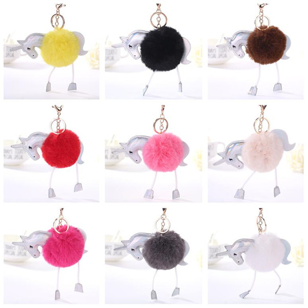Good A++ Unicorn hair ball key ring PU leather key card cartoon hair ball bag pendant KR355 Keychains mix order 20 pieces a lot
