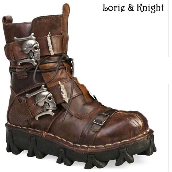 632c2fcef8b Botas de Ejército Hombres Militar Cuero Combate Metal Hebilla Hombre  Motocicleta Botas Punk Zapatos de Hombre. Artículo Vendido