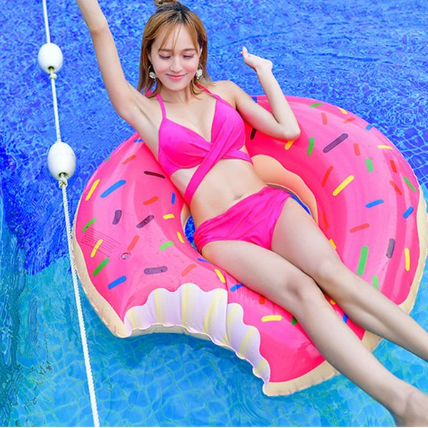 top popular Swimming laps, adult children, thickening, swimming laps, inflatable fat, learning swimming, MM cute donuts 2019
