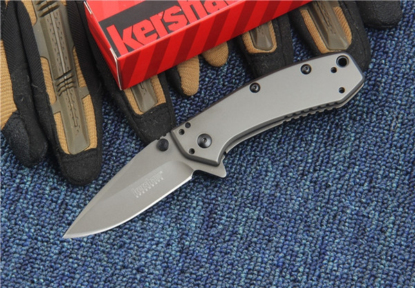 top popular Kershaw 1555TI Titanium Tactical Folding Knife Hinderer Design Flipper Camping Hunting Survival Pocket Knife 8Cr13Mov Utility EDC Collection 2020