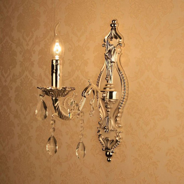European Silver Torch Carved Alloy Clear Crystal Corridor Wall Lights Bedroom Bedsides Wall Sconces Candle Style Living Room Wall Lighting F