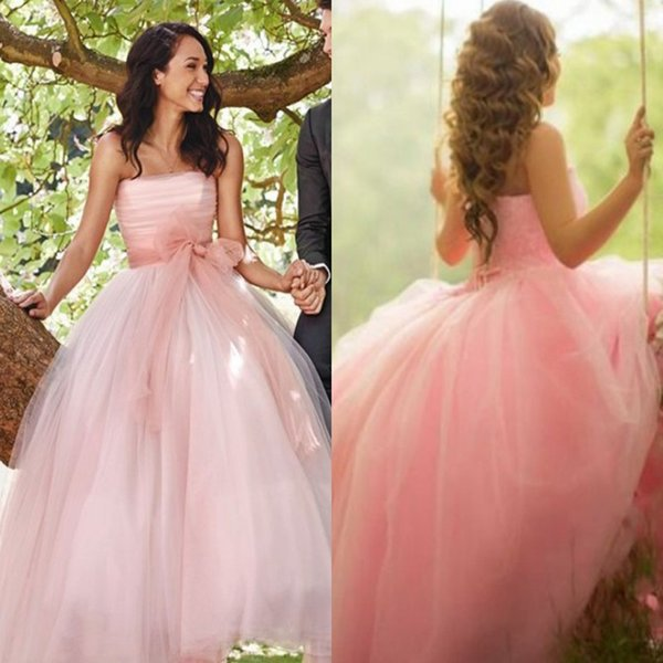 ae6c7a3c7008 Fantasy Dusty Pink Long Wedding Dresses Princess Middle East Arabic Women  Party Dresses with Bow Sash Summer Garden Bridal Gowns