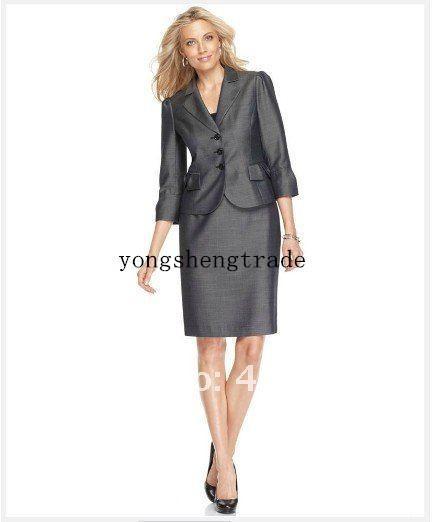 Gray Women Suit Three Quarter Sleeve Notched Collar Jacket & Pencil Skirt Tailor Women Business Suit