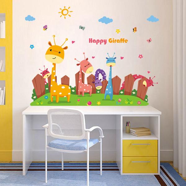 Cartoon Giraffe Paradise Tiere Wandaufkleber Für Kinderzimmer Schlafzimmer Kinderzimmer  Dekoration Aufkleber Kinder Wandmalereien