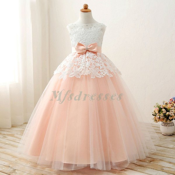 Lace Flower Girls Dresses Floor Length Sleeveless First Communion Dresses For Little Girls Ball Gown Kids Evening Gowns With Sashes Bow