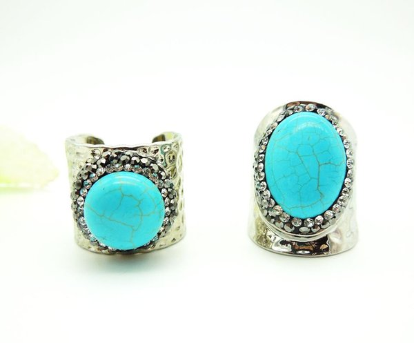 wholesale 2 PCS Nature Stone Rings,with Crystal Rhinestone Paved Wide Rings, Rhodium Plated Metal Gem Finger Jewelry Ring