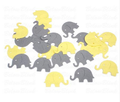 Custom 150pcs glitter Yellow and Gray Elephant confettis wedding table scatters Christmas bridal shower bachelorette party decorations