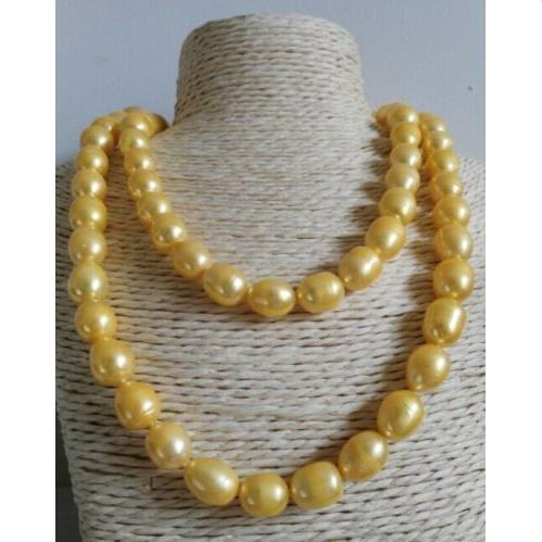 35 INCH HUGE 13MM NATURAL SOUTH SEA GENUINE GOLDEN PEARL NECKLACE 14K GOLD CLASP