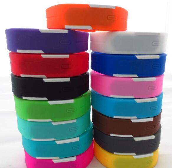 Wholesale-100pcs/lot Mix 14colours Sports led Digital Display touch screen watches Rubber belt silicone bracelets Wrist watches LT011