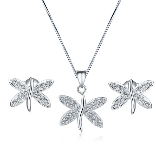 a147fd438078a 2019 Dragonfly Design Earrings Necklace Set Cubic Zirconia Stone 925  Sterling Silver Jewelry For Women Nice Gift From Gzdhzb, $4.78 | DHgate.Com