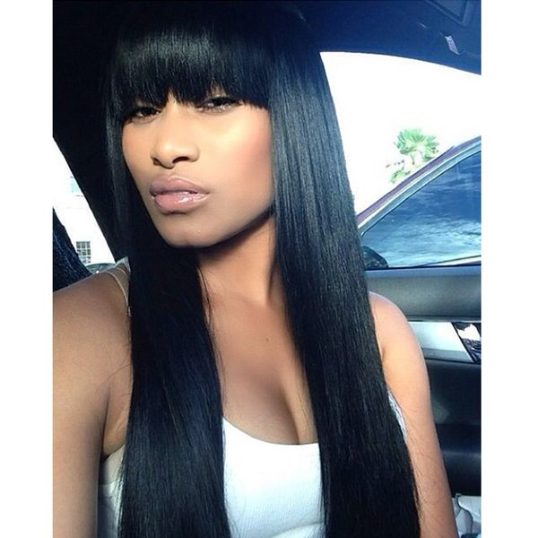 Full Lace Human Hair Wigs Silky Straight With Bangs Brazilian Virgin Hair 150% Density For Black Women Bleached Knots Lace Front Wigs