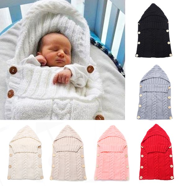 Mode Infant Baby Tasche Kindergarten Bettwäsche Swaddle Wrap Warme Wolle Strick Kapuze Windeln Blanke t Schlafsack 70 * 39 cm Fit 0-24 Monate