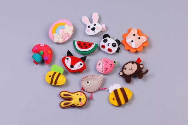 Boutique 40pcs Fashion Cute Felt Animals Fox Panda Lion Monkey Bee Rabbit Hairpins Solid Kawaii Cartoon Hair Clips Headware Accessories