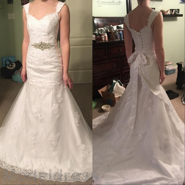 Mermaid Lace Wedding Dresses 2016 V-Neck Backless Appliqus Sashes Elgant Lace Up Bridal Gowns Cheap Custom Made Free Shipping