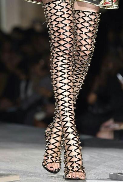 Seksi Roma Stil Cut-Çıkışları Uyluk Yüksek Sandalet Çivili Perçinler Uzun Gladyatör Sandalet Açık Toe Yüksek Topuklu Ayakkabılar Kadın Gerçek Pics