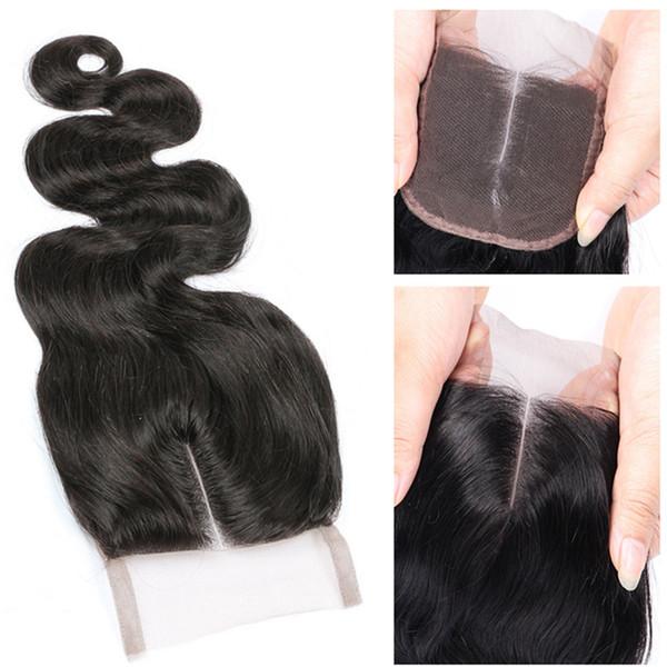 Chiusura media del merletto dell'onda del corpo non trattata Brasiliana brasiliana peruviana indiana malese chiusura dei capelli umani nodi candeggiati con i capelli del bambino
