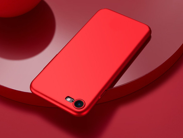 For iPhone 7 6 6S Plus Frosted PC Matte Ultra-Thin Rubberized Hard Shell Back Cover Case 360 protector Red Color for iPhone6 iphone7