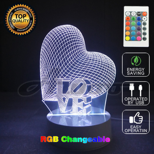 3D Visual Bulb Optical Illusion Colorful LED Table Lamp Touch Romantic Holiday Night Light One Love Heart Wedding Gifts