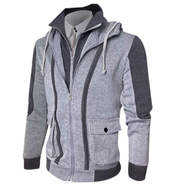 Atacado- op Moda 2017 nova marca homens com capuz universitários casacos Slim Fit Mens roupas de grife jaqueta Casual Jaquetas Masculina