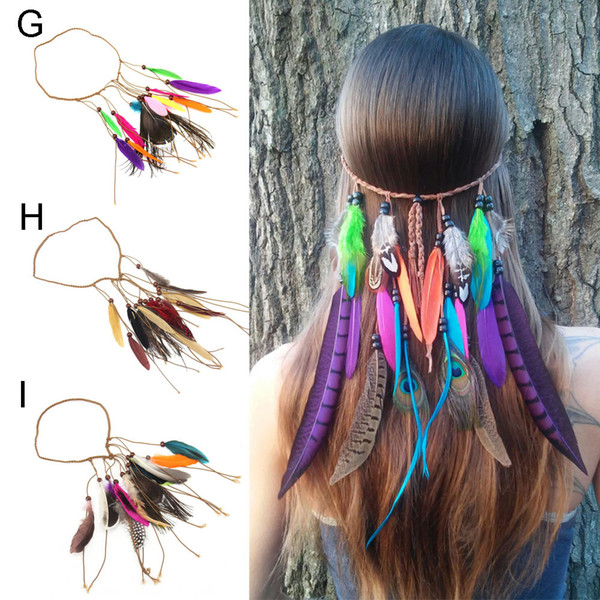 Las nuevas muchachas del estilo indio pluma hairband hecho a mano Bohemien mujeres tejidas diadema dama pluma de pavo real Barrette Hair Band