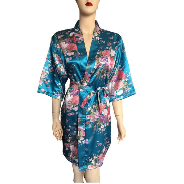 Silk Satin Wedding Bride Bridesmaid Robe Floral Bathrobe Short Kimono Night Robe Bath Robe Fashion Dressing Gown For Women
