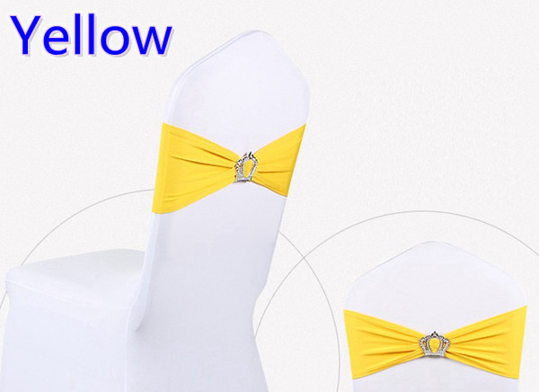 Yellow colour Crown buckle lycra sash for wedding chairs decoration spandex band stretch bow tie lycra ribbon belt on sale