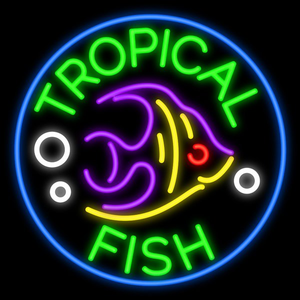 """Tropical Fish Neon Sign Handmade Custom Advertised Real Glass Tube Pets Store Shop Home Motel Decoration Art Wall Display Neon Signs 24""""X24"""""""