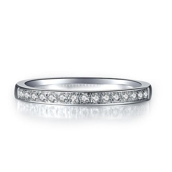 Elegante anello sintetico con diamanti per le donne, in argento sterling 925, placcato in oro bianco