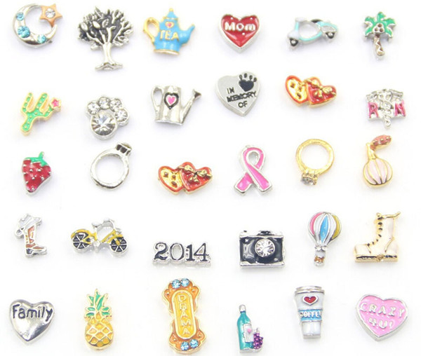 best selling Free Shipping Fashion Floating Charms For Glass Living Memory Floating Locket Mix Design Assorted Charms DIY Alloy Accessories
