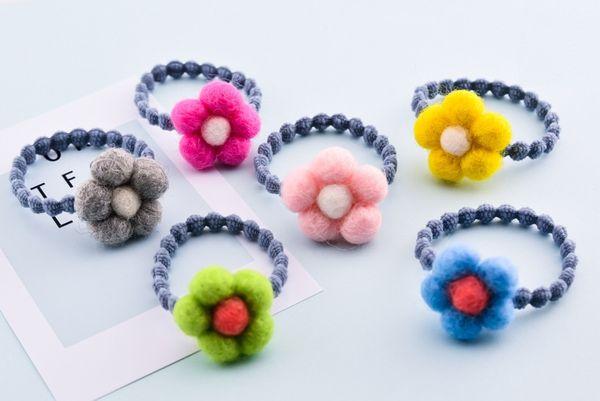 Boutique 30pcs Fashion Cute Felt SunFlower Elastic Hair Bands Solid Kawaii Floral Girls Rubber Gum Rope Headware Accessories