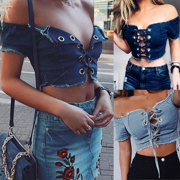 Ladies Denim Sexy Off the Shoulder Summer Lace Up Short Sleeved Crop Tops Womens Cropped Jumper Blouse T-Shirt Shirt Tee
