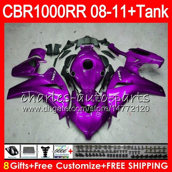 Bodywork For HONDA CBR 1000RR CBR1000 RR 08-11 kit 8Gifts 69NO68 Gloss purple CBR1000RR 08 09 10 11 CBR 1000 RR 2008 2009 2010 2011 Fairing