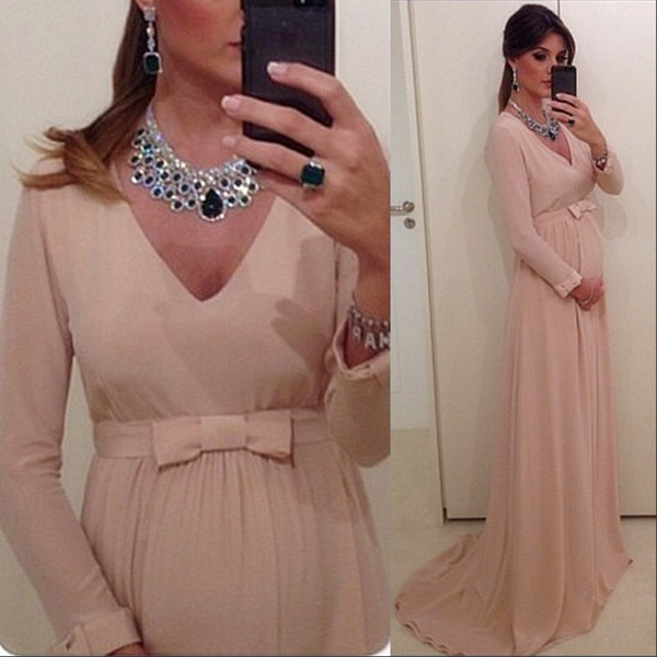 Chiffon Long Sleeves V Neck Cheap Maternity Evening Dresses Sweep Train Plus Size Custom Inexpensive Baby Shower Dresses