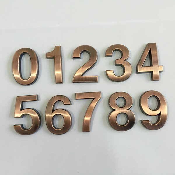 Wholesale- New 1PC 0-9 Bronze House Numbers 70*48*8mm Hotel Home Door ABS Plating Number Digits Sticker Plate Signs Address Plaque Hotsale