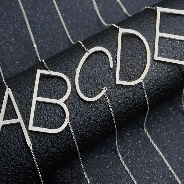 Acier inoxydable A-Z Anglais Alphabet Collier Initial Argent Or Plaqué Capital Lettre Pendentif Bijoux De Mode pour Les Femmes BATISSEMENT 162359