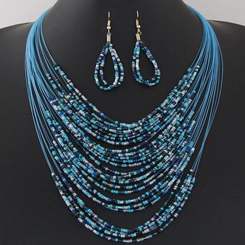 Fashion Bohemian 4 Colors Multilayer Resin Beads Necklace Earrings Tassel Fringe Necklaces Hook Dangle Earrings Jewelry Set Tribal Jewelry