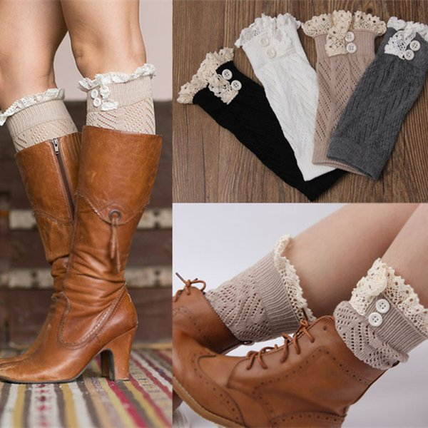 Hot 9 color women Crochet lace boot cuffs handmade Knit leg warmer Ballet lace Boot Cuff Leg Warmers Christmas Boot Socks covers BB106
