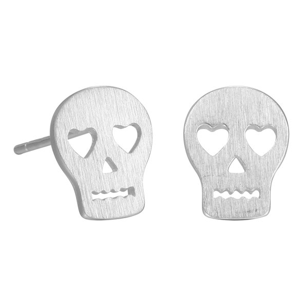 5 pairs/lot 925 Sterling Silver Punk Skull Face Stud Earrings for Women New Girls Christmas Gift Statement Jewelry Pendientes Plata