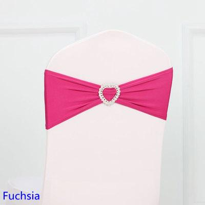 Modern Fuchsia Colour Spandex Sash Lycra Bands Stretch Elastic Chair Ribbon Sash With Love Heart Buckle Wedding Hotel Home Banquet Party