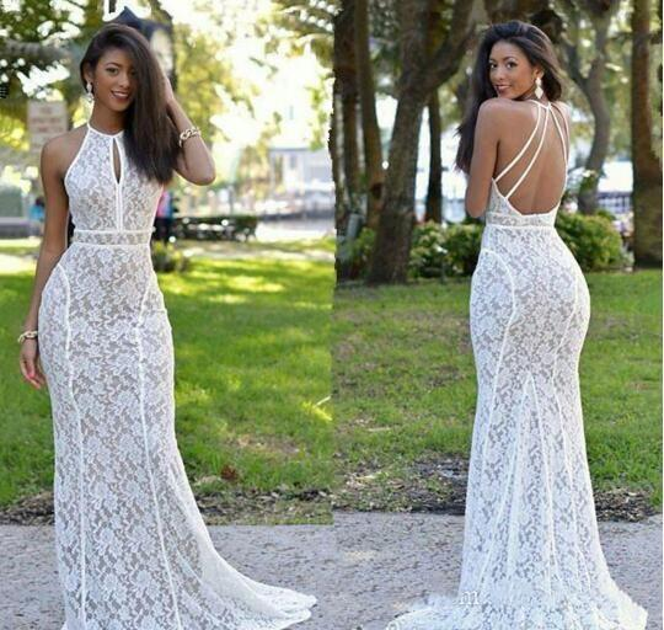 cheap 2017 New Design Custom Made Fukll Lace Bohemian Beach Wedding Dresses Halter Neck Backless Mermaid Long Bridal Gowns Open Back