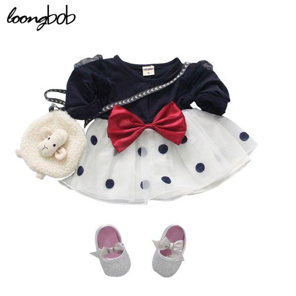 Wholesale- Baby Girls Princess Dress Newborn Spring Autumn Infant Chiffon Dress Big Bow-Knot Kids Polka Toddler Long Sleeve Clothes 1 pc