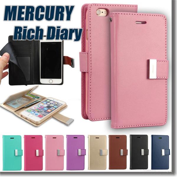 Mercury Rich Diary Wallet PU funda de cuero con 2 ranuras para tarjetas de bolsillo lateral cubierta de TPU para iPhone x 8 7 plus 6 6s más 5s se Samsung s8 s8 plus