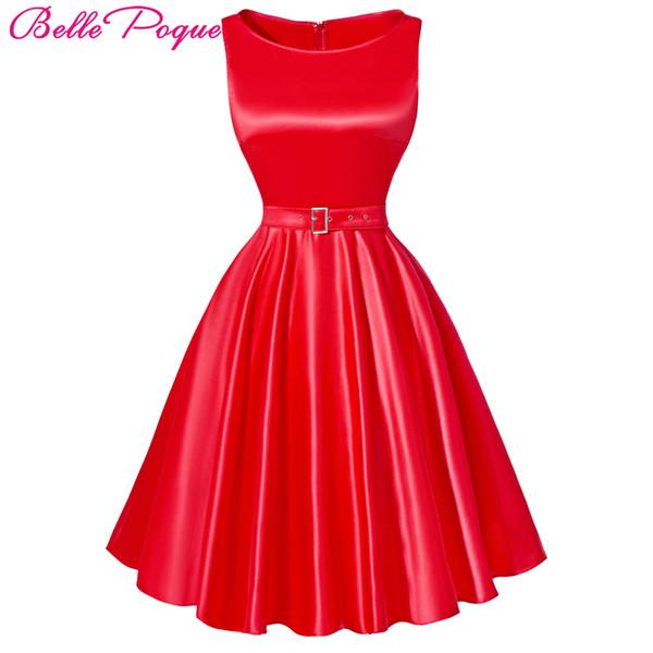 Wholesale- Belle Poque Jurken Women Dress Black Red Summer Audrey Hepburn 50s 60s Vintage Dresses Vestidos Plus Size Rockabilly Party Dress