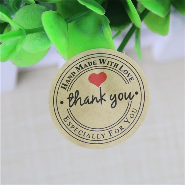 2400pcs Thank You love self-adhesive stickers kraft label sticker Diameter For DIY Hand Made Gift /Cake /Candy paper tags