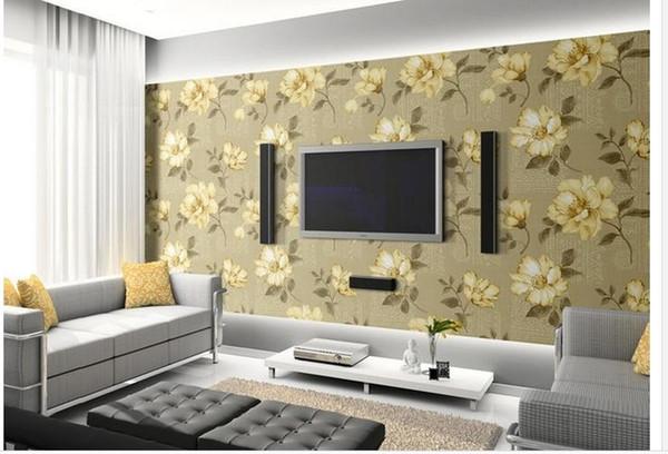 High Quality Customize size Modern Popular retro make old idyllic roses seamless stitching wallpaper pattern floral
